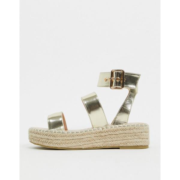 最も  レイド レディース サンダル シューズ RAID Bellini espadrille sandals in gold Gold pu, 【はこぽす対応商品】 46e17c72