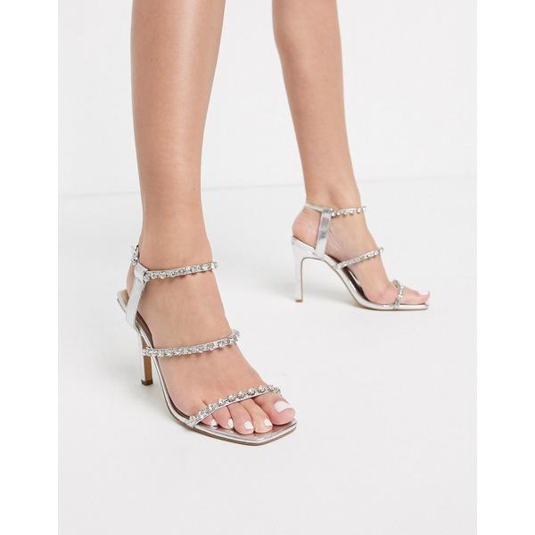 ロンドンレベル レディース ヒール シューズ London Rebel embellished stiletto barely there sandal in silver Silver pu