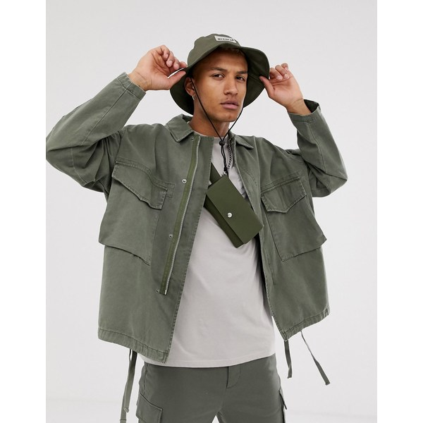 エイソス メンズ ジャケット&ブルゾン アウター ASOS DESIGN utility jacket in khaki Khaki