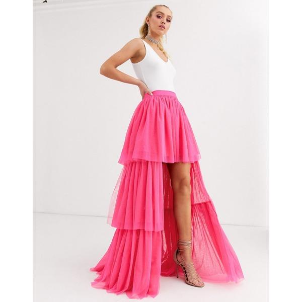 レースアンドビーズ レディース スカート ボトムス Lace & Beads tiered high low maxi skirt in neon pink Neon pink