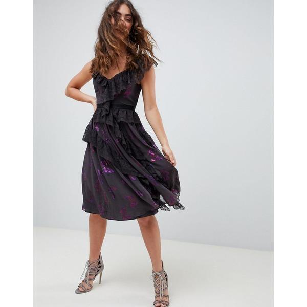 ニードルアンドスレッド レディース トップス ワンピース Graphite 全商品無料サイズ交換 ニードルアンドスレッド レディース ワンピース トップス Needle  Thread lace frill midi dress in multi Graphite