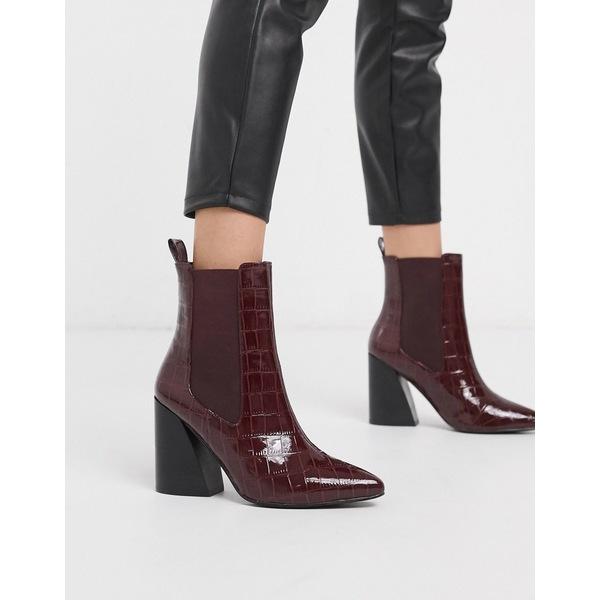 エイソス レディース ブーツ&レインブーツ シューズ ASOS DESIGN Rocco pointed heeled boots in burgundy croc Burgundy