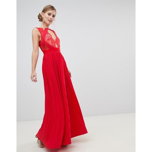 エイソス レディース ワンピース トップス ASOS DESIGN premium scallop lace top pleated maxi dress Red