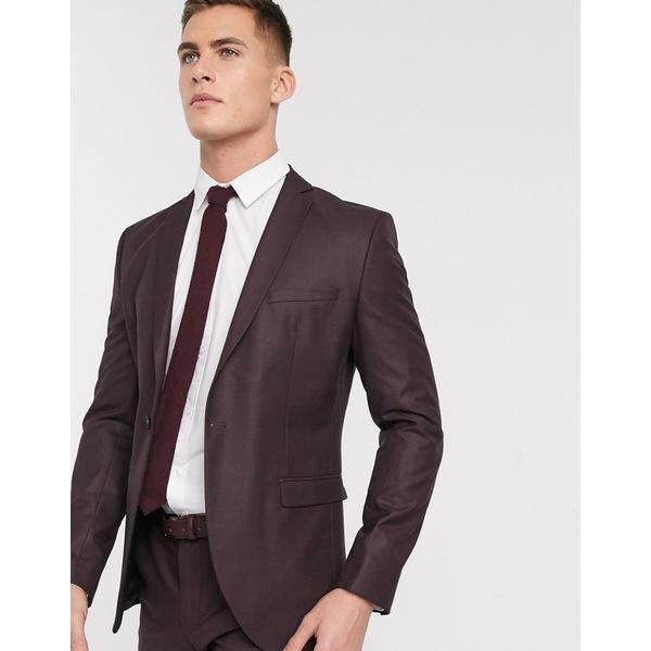 セレクテッドオム メンズ ジャケット&ブルゾン アウター Selected Homme skinny fit stretch suit jacket in burgundy check Red dahlia