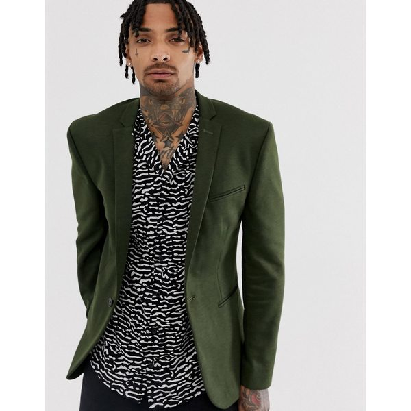 エイソス メンズ ジャケット&ブルゾン アウター ASOS DESIGN super skinny jersey blazer in khaki Khaki