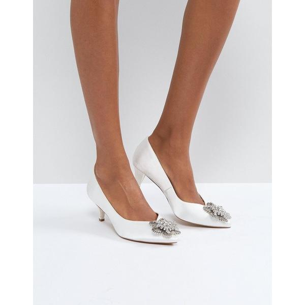 エイソス レディース ヒール シューズ ASOS SOYA Bridal Embellished Kitten Heels Ivory