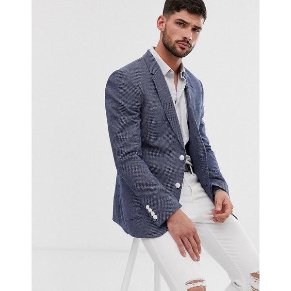 エイソス メンズ ジャケット&ブルゾン アウター ASOS DESIGN skinny blazer with birdseye texture in blue Blue