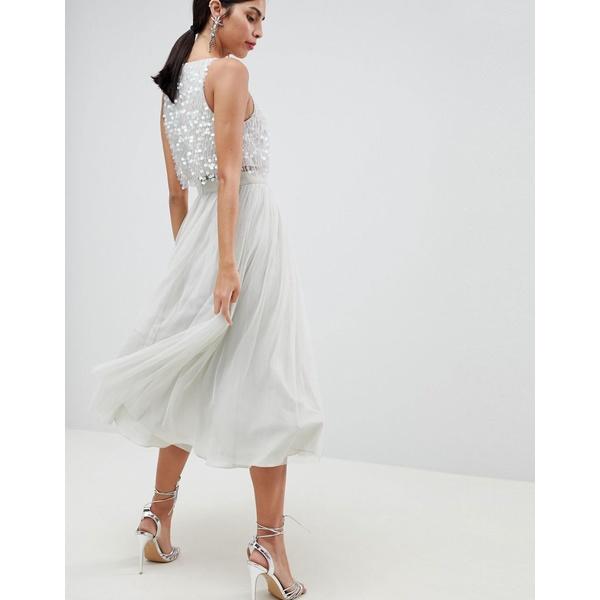 エイソス レディース ワンピース トップス ASOS DESIGN Tulle Prom Midi Dress With Delicate Embellished Droplets Ice gray
