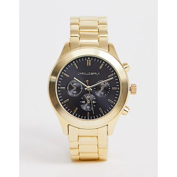 エイソス メンズ 腕時計 アクセサリー ASOS DESIGN gold tone bracelet watch with black dial Gold