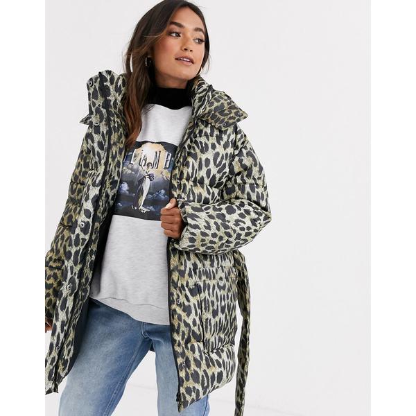 エイソス レディース ジャケット&ブルゾン アウター ASOS DESIGN animal puffer jacket with tie waist Multi