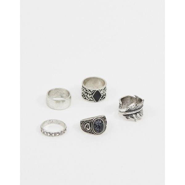 エイソス メンズ アクセサリー リング Silver 全商品無料サイズ交換 エイソス メンズ リング アクセサリー ASOS DESIGN chunky ring pack in burnished silver Silver