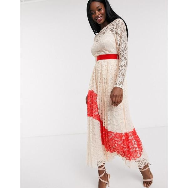 リトルミストレス レディース ワンピース トップス Little Mistress contrast lace pleated midi dress Blush/red