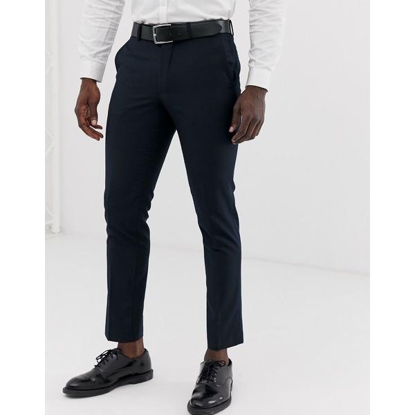 フレンチコネクション メンズ カジュアルパンツ ボトムス French Connection slim fit plain suit pants Navy