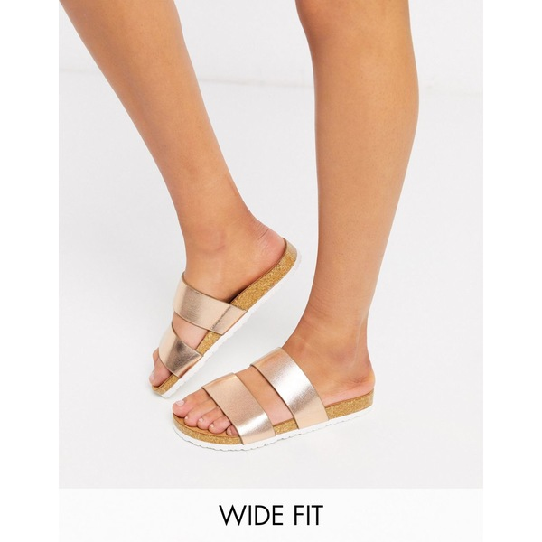エイソス レディース サンダル シューズ ASOS DESIGN Wide Fit Fraser double strap mule sandals in gold Gold