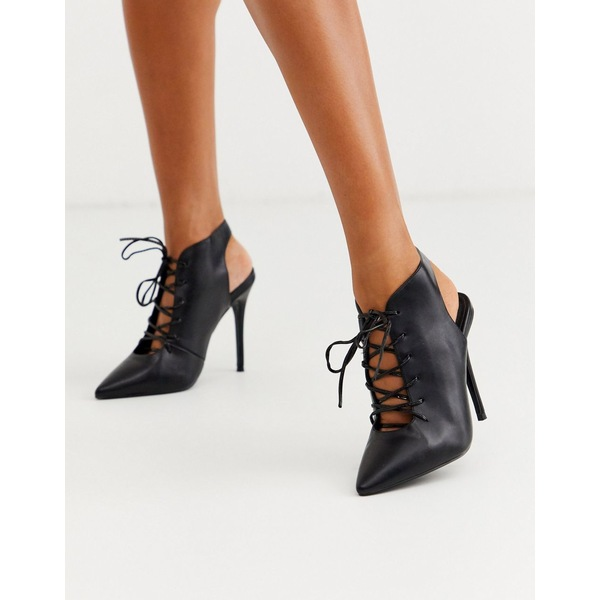 エイソス レディース ヒール シューズ ASOS DESIGN Proud lace up high heeled shoe boots in black Black