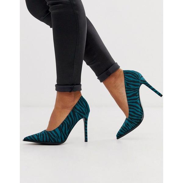 エイソス レディース ヒール シューズ ASOS DESIGN Powerful high heeled pumps in blue zebra Blue zebra