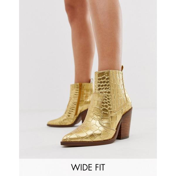 エイソス レディース ブーツ&レインブーツ シューズ ASOS DESIGN Wide Fit Elliot western boots in gold croc Gold croc