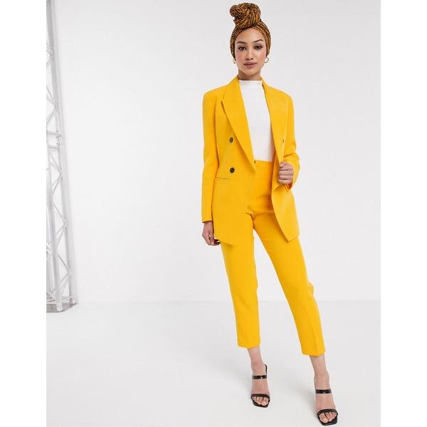 エイソス レディース カジュアルパンツ ボトムス ASOS DESIGN pop slim suit pants in yellow Yellow