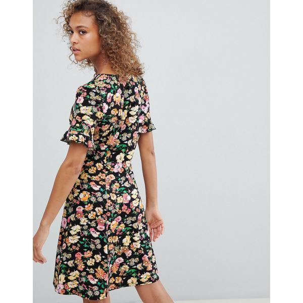 エイソス レディース ワンピース トップス ASOS DESIGN button through tea dress with frill sleeve in summer floral print Summer floral0nwvONm8