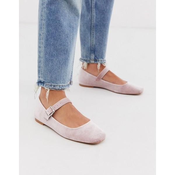 エイソス レディース サンダル シューズ ASOS DESIGN Links mary jane ballet flats in blush velvet Blush velvet