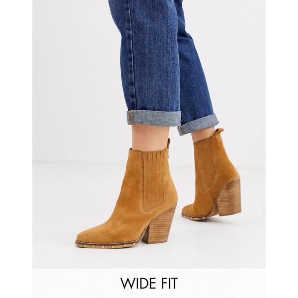 エイソス レディース ブーツ&レインブーツ シューズ ASOS DESIGN Wide Fit Relative suede studded heeled western boots Sand suede
