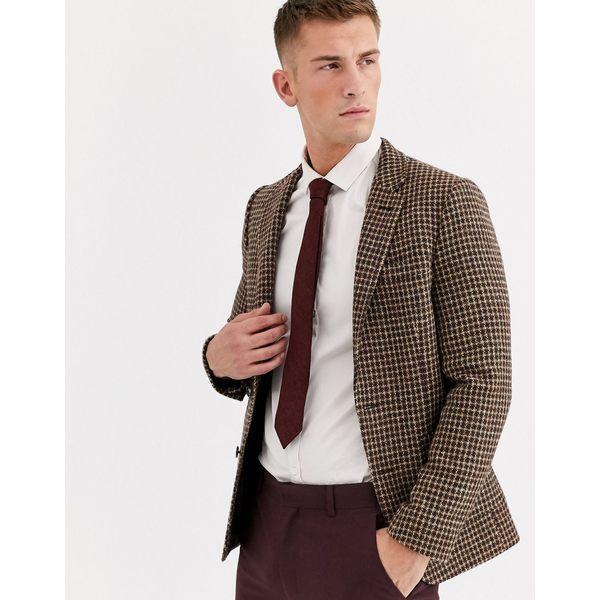 エイソス メンズ ジャケット&ブルゾン アウター ASOS DESIGN wedding Harris Tweed slim blazer with wool microcheck in brown Brown