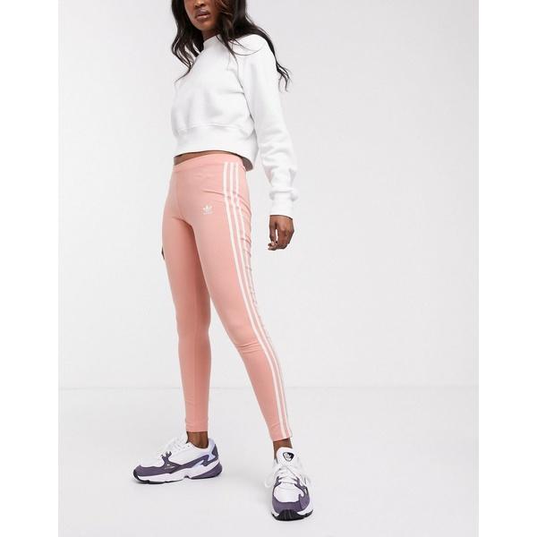 アディダスオリジナルス レディース レギンス ボトムス adidas Originals 3 stripe leggings in coral Orange