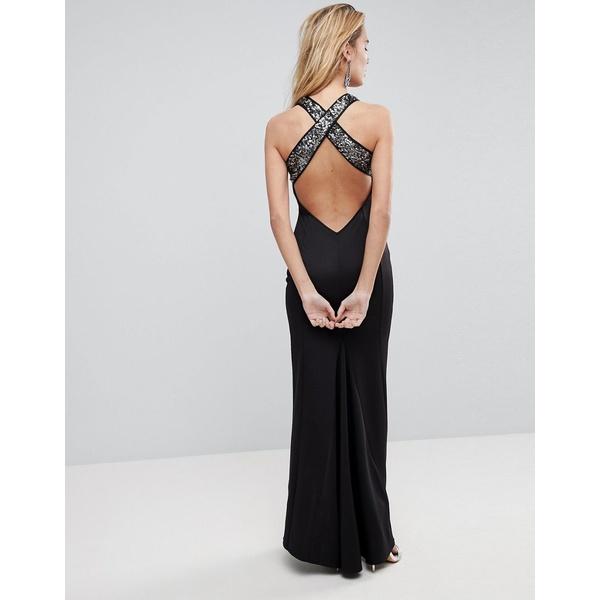 エイソス レディース ワンピース トップス ASOS Sequin Bodice Strappy Back Fishtail Maxi Dress Silver blackN0O8wnPXZk