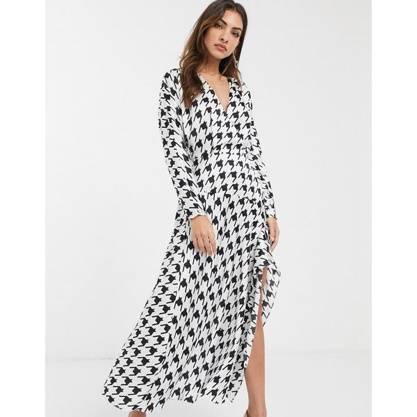 エイソス レディース ワンピース トップス ASOS DESIGN wrap front midi dress in houndstooth Mono houndstooth
