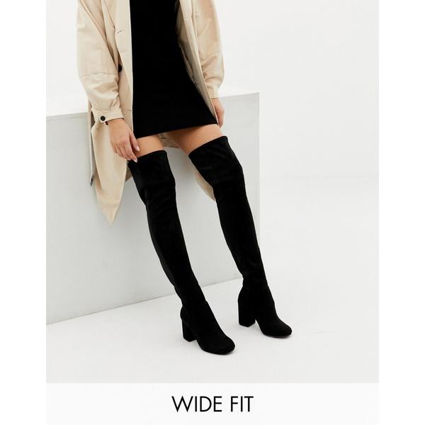エイソス レディース ブーツ&レインブーツ シューズ ASOS DESIGN Wide Fit Extra Wide Leg kadi heeled over the knee boots Black