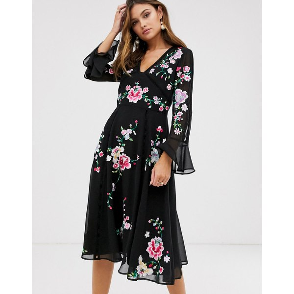 エイソス レディース ワンピース トップス ASOS DESIGN embroidered midi dress with lace trims Black