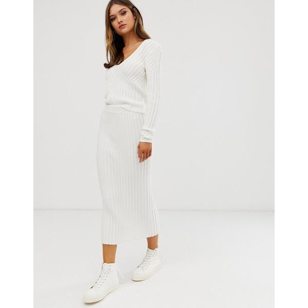 エイソス レディース スカート ボトムス ASOS DESIGN two-piece moving rib knit skirt Cream