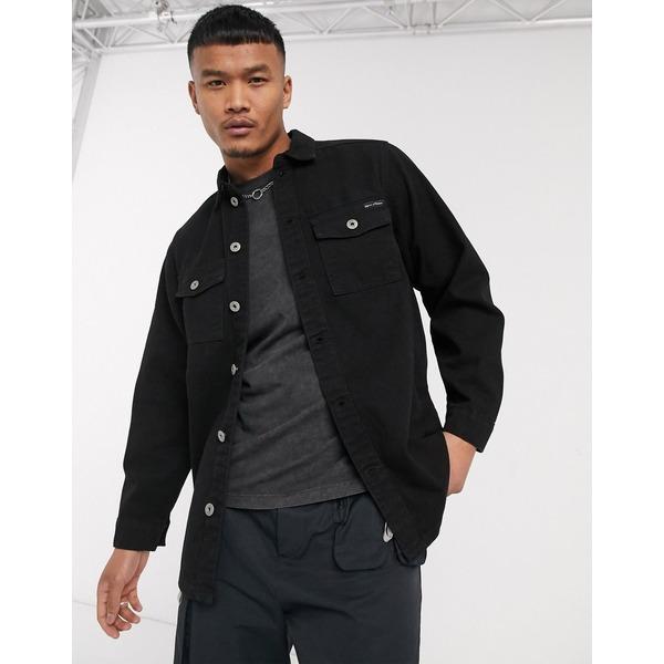 リカーアンドポーカー メンズ シャツ トップス Liquor N Poker denim shirt with pockets in black Black