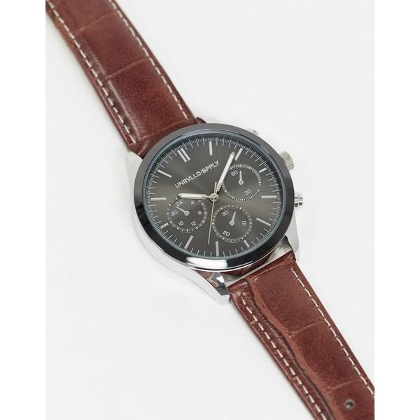 エイソス メンズ 腕時計 アクセサリー ASOS DESIGN watch with subdial detail and croc strap Brown