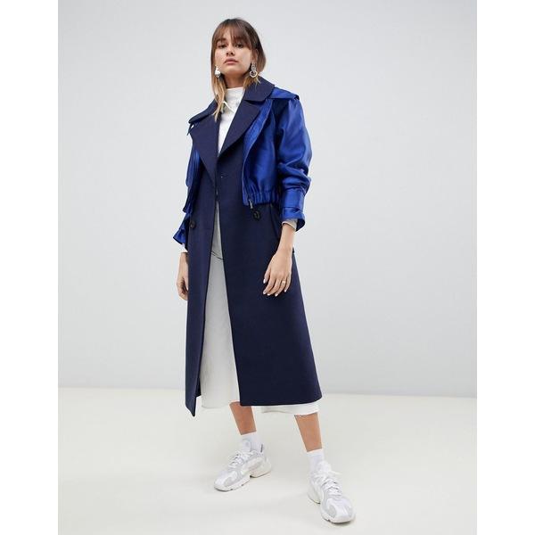 エイソス レディース コート アウター ASOS DESIGN formal coat with hybrid overlay Navy