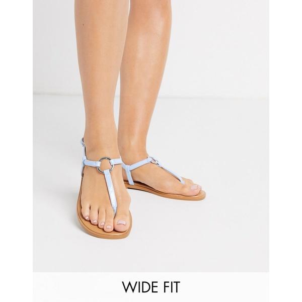 エイソス レディース サンダル シューズ ASOS DESIGN Wide Fit Valentina ring flat sandals in blue Blue
