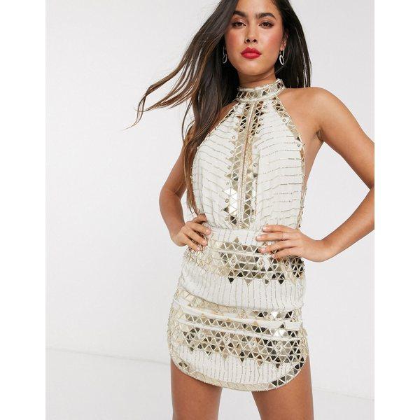 エイソス レディース ワンピース トップス ASOS DESIGN high neck mini dress with mirror embellishment Cream