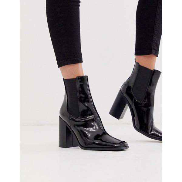 エイソス レディース ブーツ&レインブーツ シューズ ASOS DESIGN River heeled chelsea boots in black patent Black patent