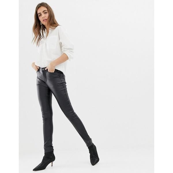 ビーヤング レディース デニムパンツ ボトムス b.Young super shiney coated jeans Black