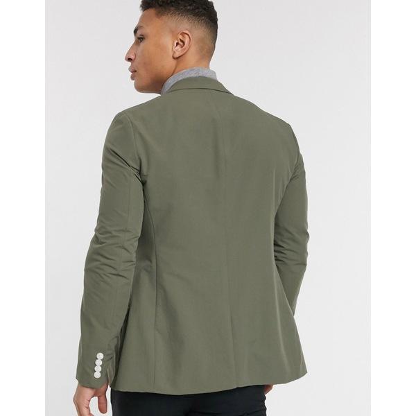 エイソス メンズ ジャケット&ブルゾン アウター ASOS DESIGN casual skinny blazer in khaki Gray