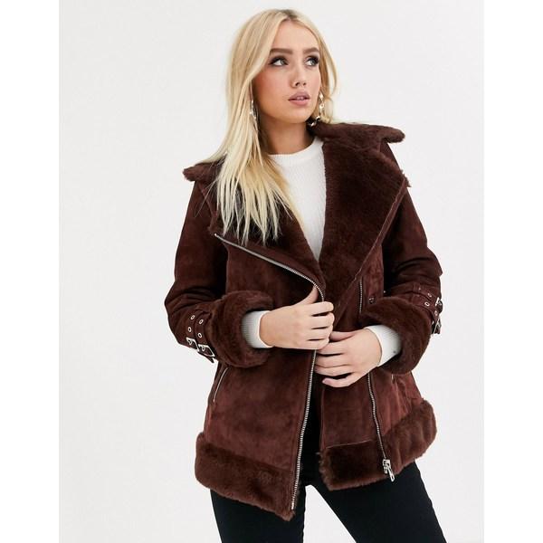 エイソス レディース コート アウター ASOS DESIGN suede aviator coat with faux fur lining in brown Brown