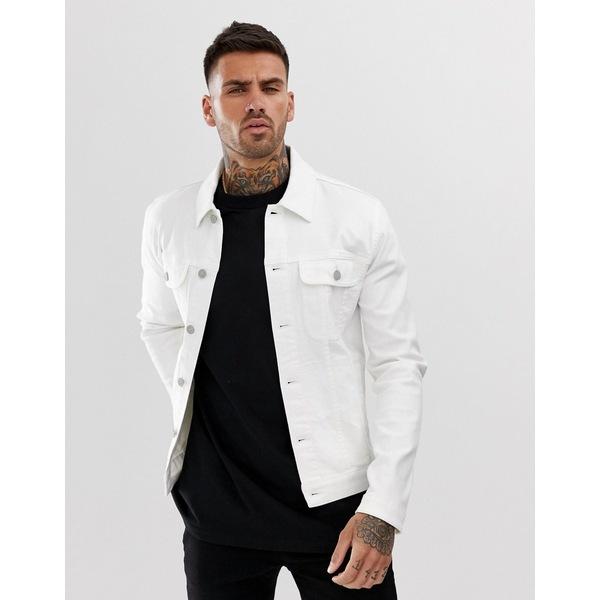 エイソス メンズ ジャケット&ブルゾン アウター ASOS DESIGN skinny western denim jacket in white White