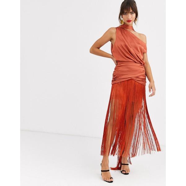 エイソス レディース ワンピース トップス ASOS DESIGN one shoulder fringe maxi dress with satin top Rust