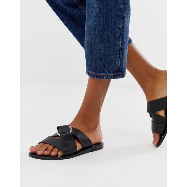 エイソス レディース サンダル シューズ ASOS DESIGN Frankie leather ring detail flat sandals Black
