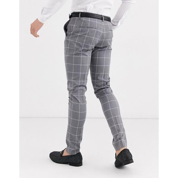 エイソス メンズ カジュアルパンツ ボトムス ASOS DESIGN super skinny suit pants in light gray windowpane check Gray