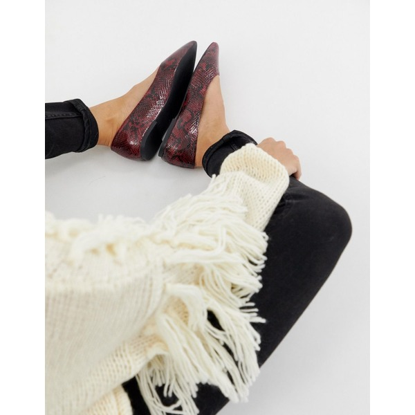 エイソス レディース サンダル シューズ ASOS DESIGN Latch pointed ballet flats Oxblood snake