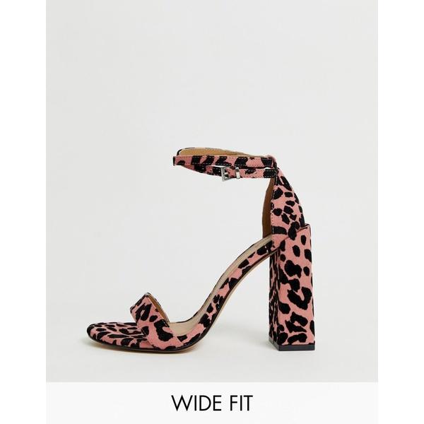 エイソス レディース サンダル シューズ ASOS DESIGN Wide Fit Highlight barely there heeled sandals Pink leopard