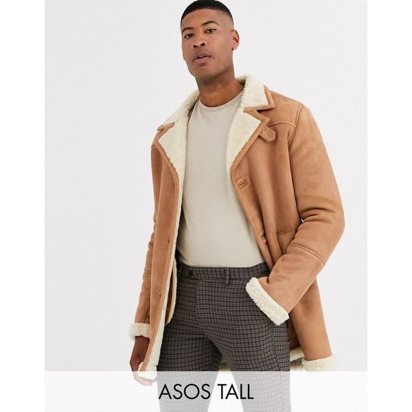 エイソス メンズ ジャケット&ブルゾン アウター ASOS DESIGN Tall jacket in faux suede tan with ecru teddy lining Tan