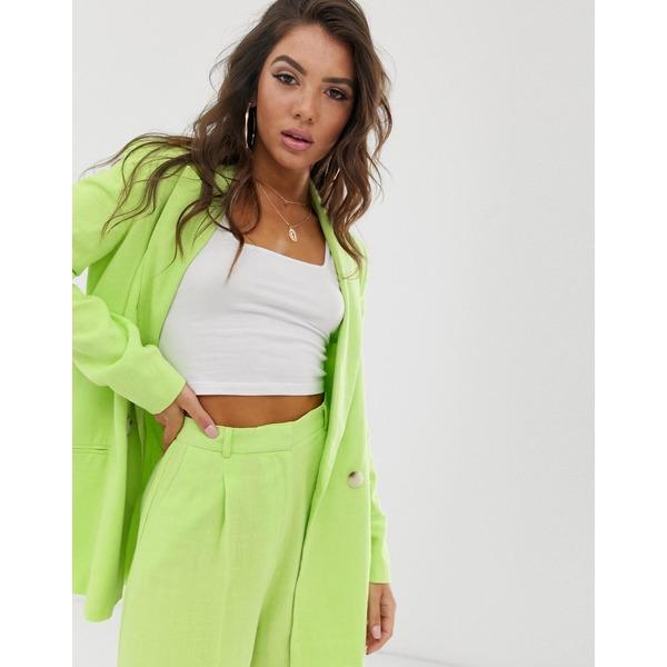 エイソス レディース ジャケット&ブルゾン アウター ASOS DESIGN linen suit blazer in lime pop Lime