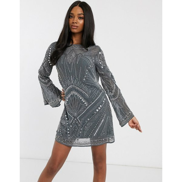 エイソス レディース ワンピース トップス ASOS DESIGN shift mini dress with cowl back and armour embellishment Gunmetal